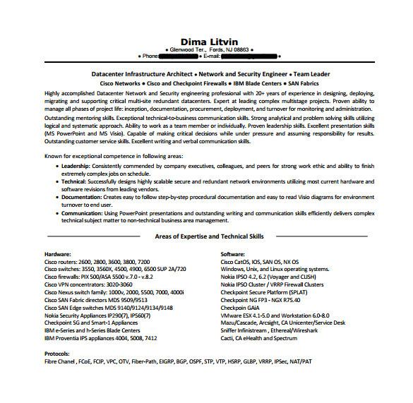 Network Engineer Resume Pdf Network Engineer Resume Template 9 Free Word Excel