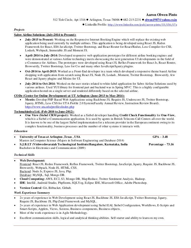 aaron web resume