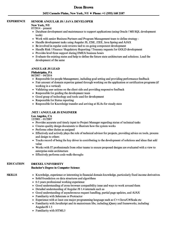 angular js resume sample