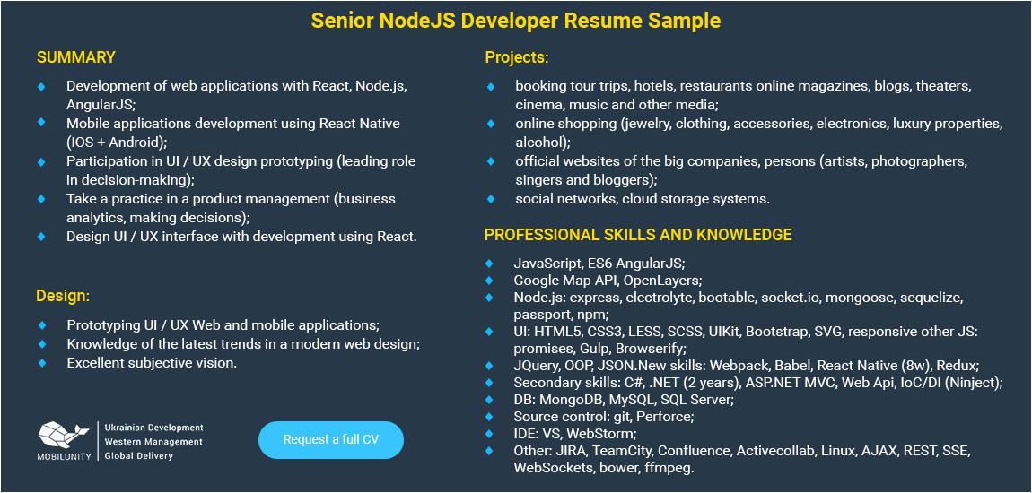 node js developer resume