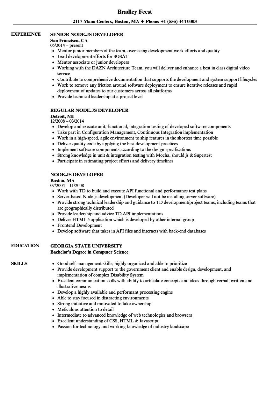 Node Js Developer Sample Resume Node Js Developer Resume Samples Velvet Jobs
