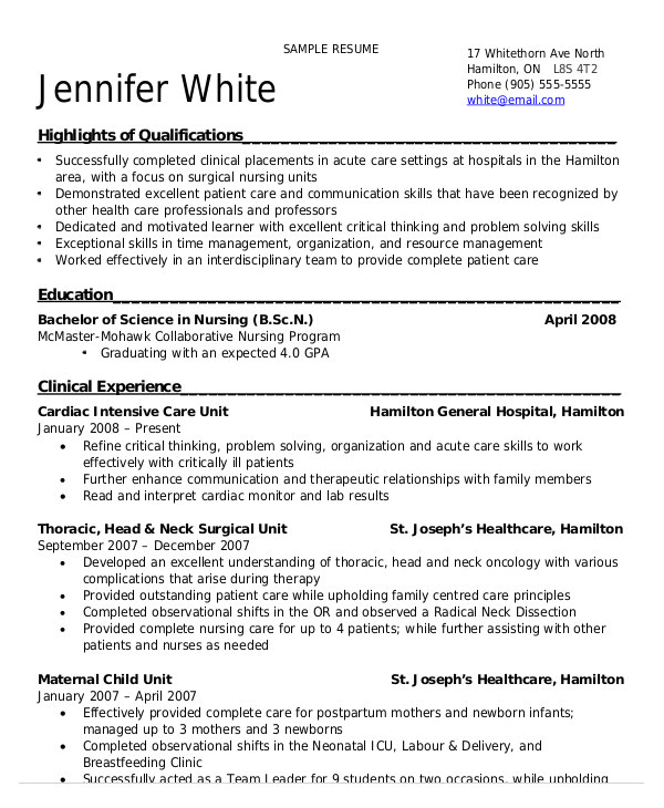 Nursing Student Resume Clinical Experience Nursing Student Resume Example 10 Free Word Pdf