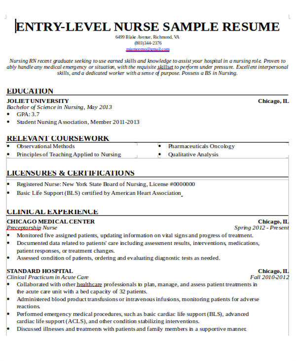 Nursing Student Resume with No Experience Pdf 7 Sample New Nurse Resumes Examples In Word Pdf