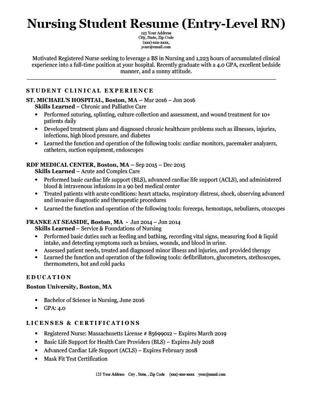 Nursing Student Skills for Resume Entry Level Nursing Student Resume Sample Tips