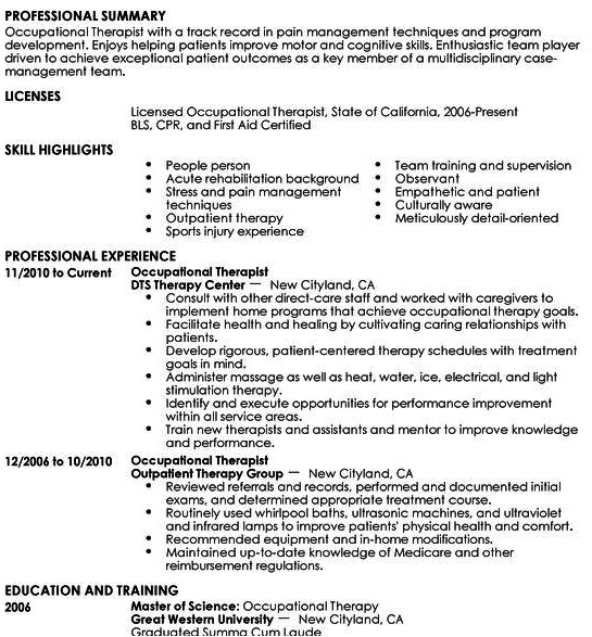 free occupational therapy resume template tips to get hired