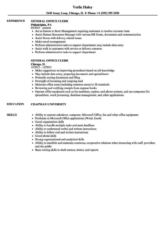Office Clerk Resume Sample General Office Clerk Resume Samples Velvet Jobs
