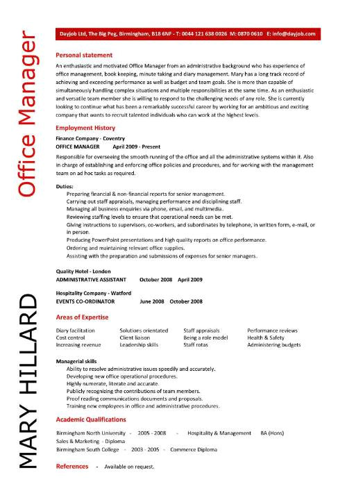 resume office manager