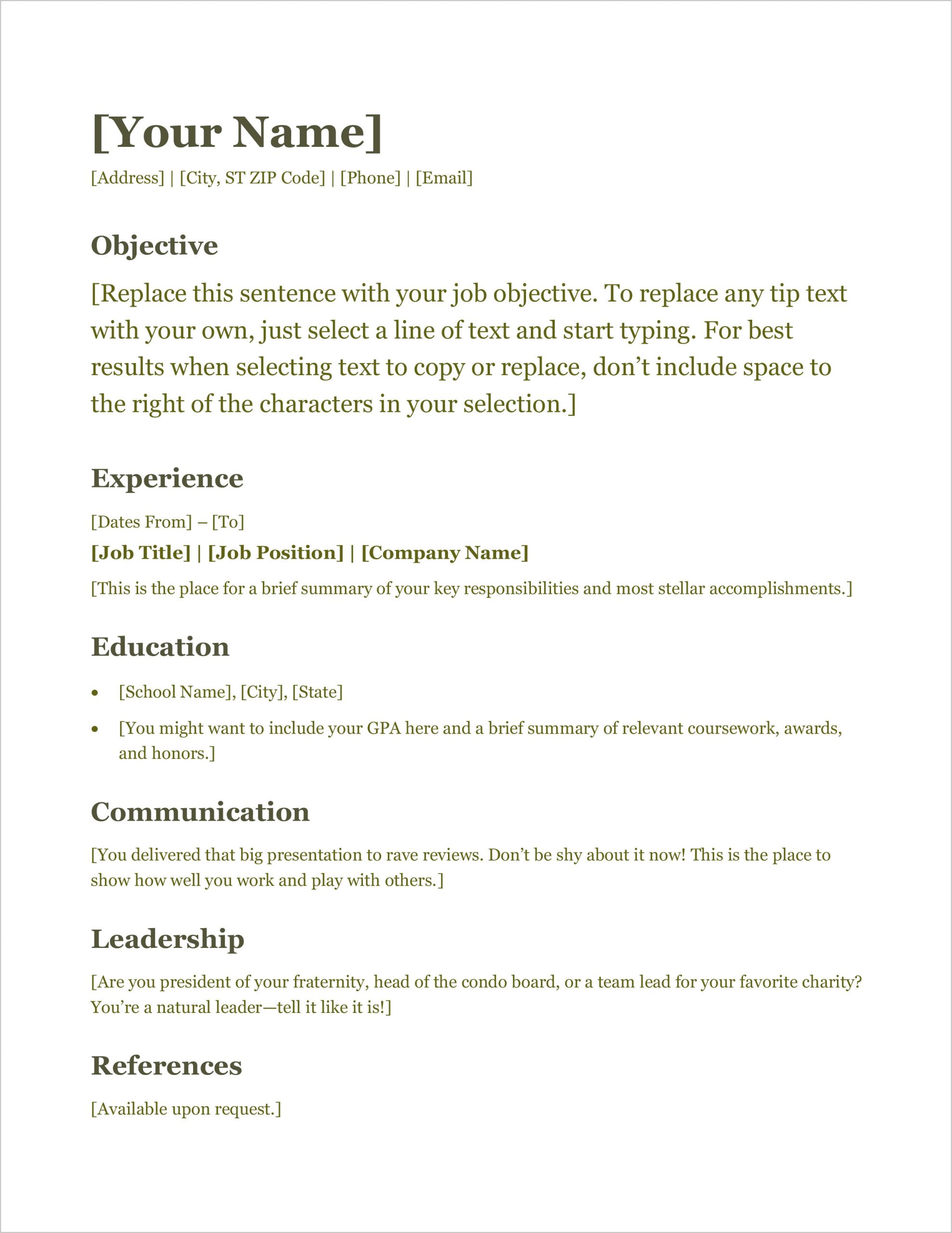 download free microsoft office resume sample and cv template
