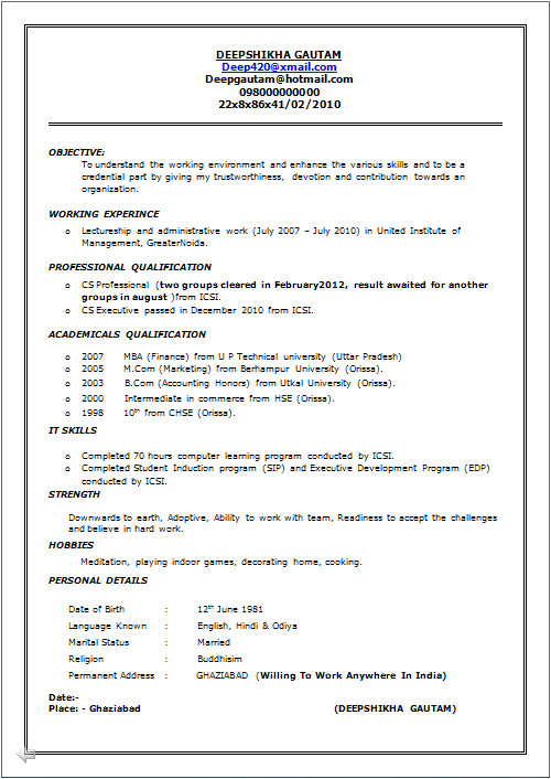 beautiful one page cv resume sample of