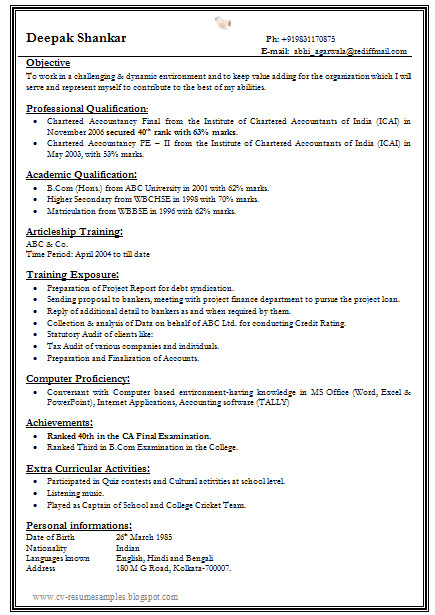 one page fresher resume format for all