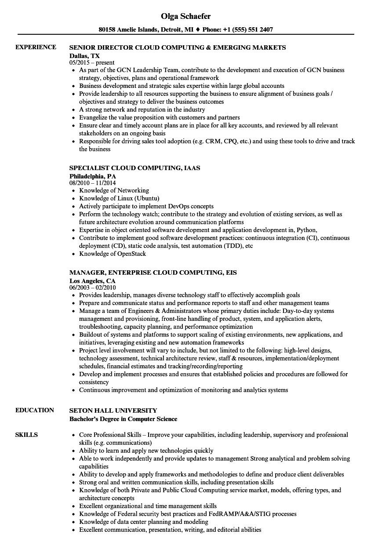 cloud computing resume sample