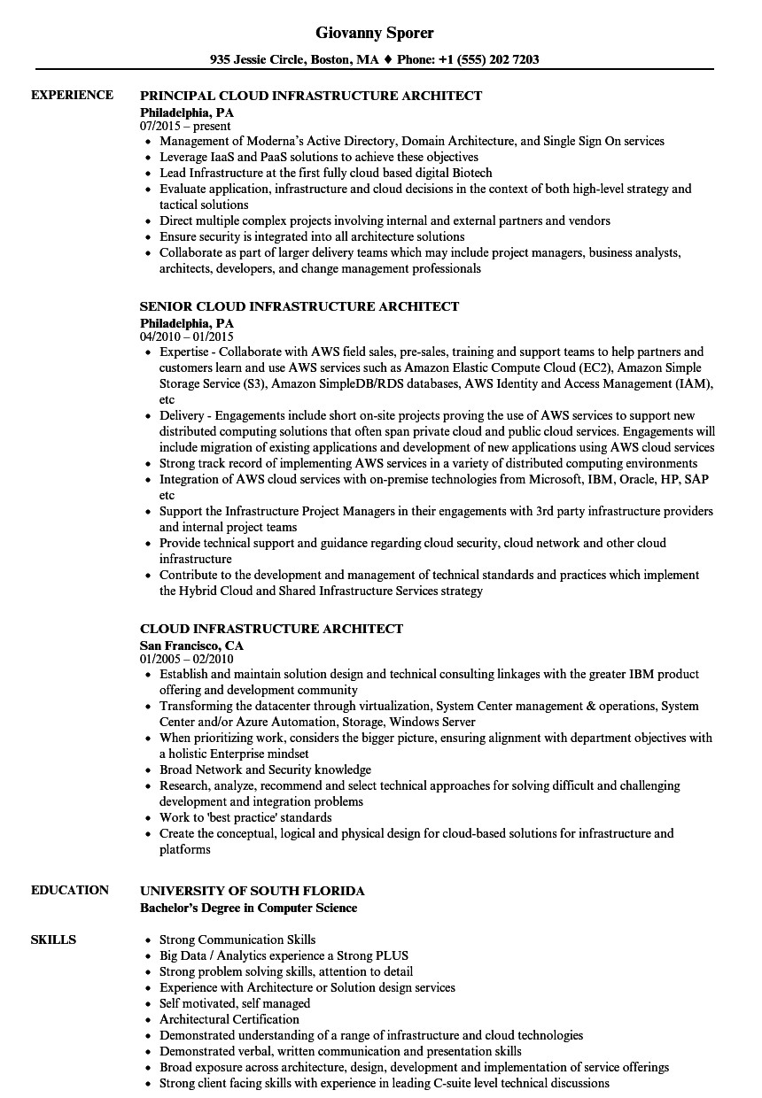cloud infrastructure architect resume sample