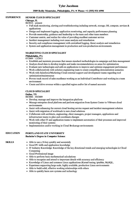 cloud specialist resume sample