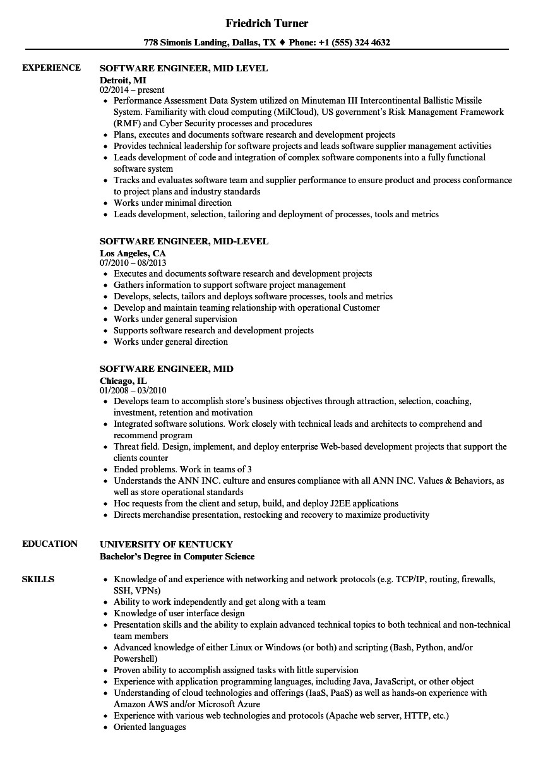 software engineer mid resume sample