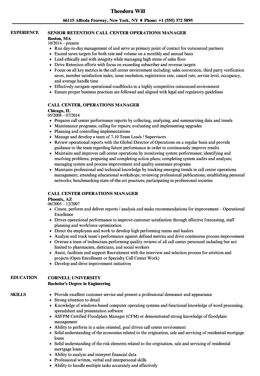 call center operations manager resume sample