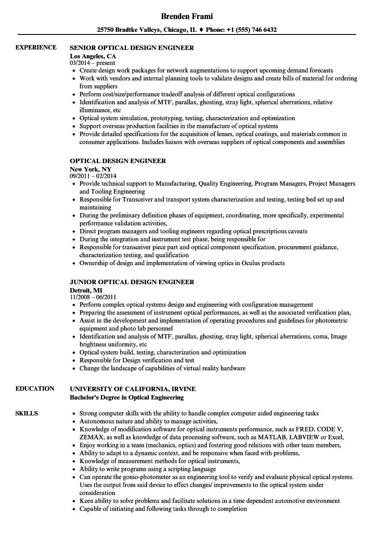 optical design engineer resume sample
