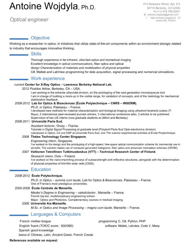 professional optical engineer resume templates and samples