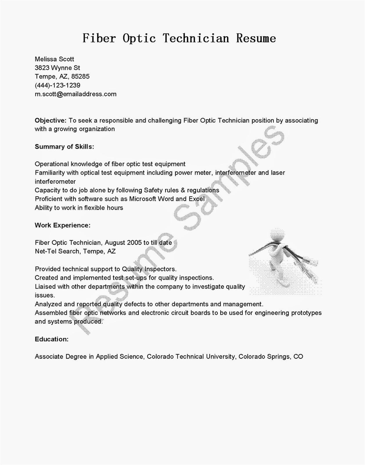 fiber optic technician resume sample