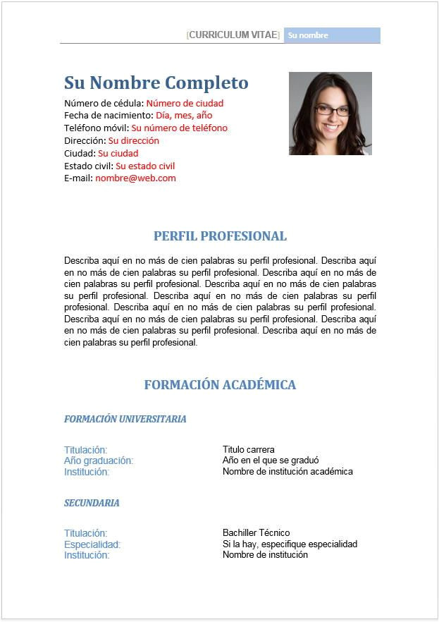 Perfil Profesional Resumen formato Hoja De Vida Perfil Profesional Y Datos July