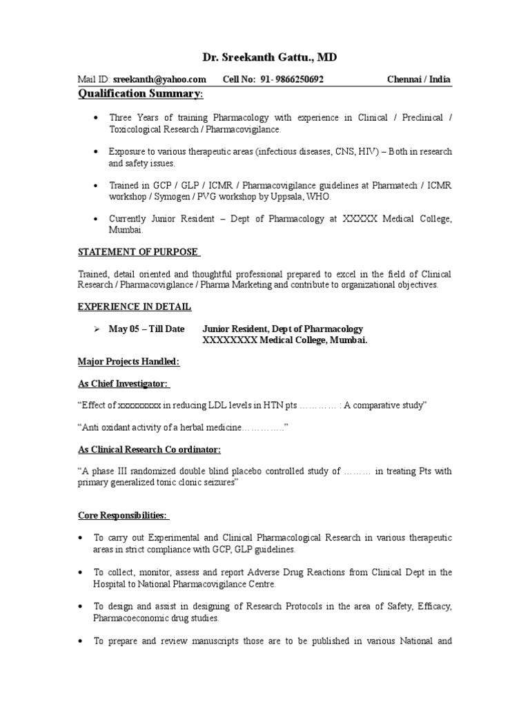 Pharmacovigilance Fresher Resume format Sample Resume Pharmacovigilance Clinical Trial