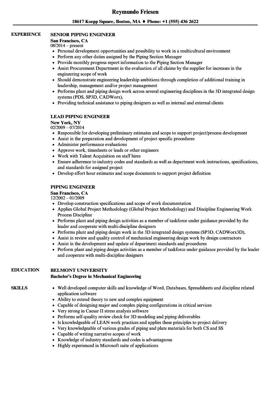 Piping Engineer Resume Piping Engineer Resume Samples Velvet Jobs