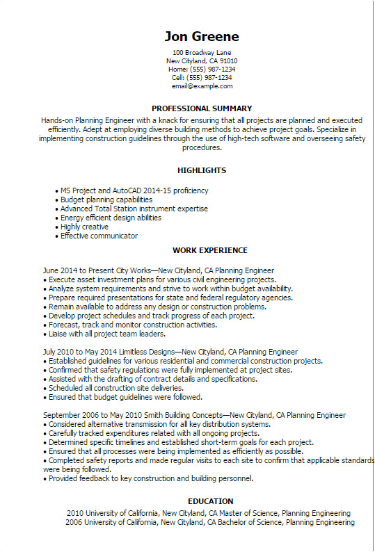 Planning Engineer Resume Word format Engineering Resume Templates to Impress Any Employer