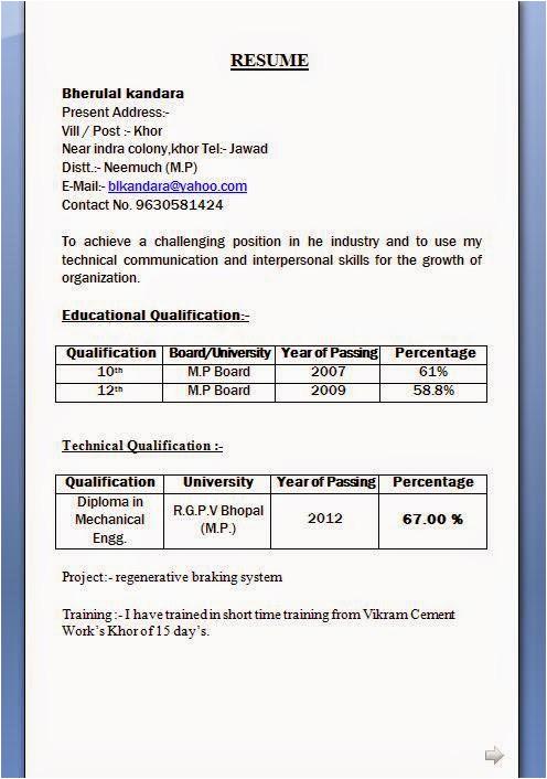 mechanical diploma resume format for