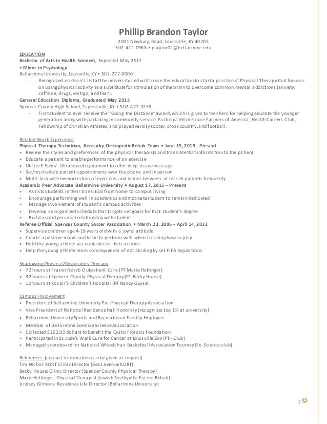 Pre Physical therapy Student Resume 6 7 Physical therapy Resume Resumename Com