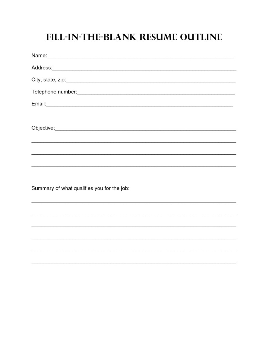 Printable Blank Resume form Resume Design Blank Resume Template Sample Blank Resume