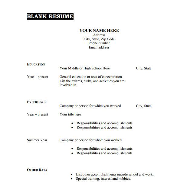 Printable Blank Resume format 46 Blank Resume Templates Doc Pdf Free Premium