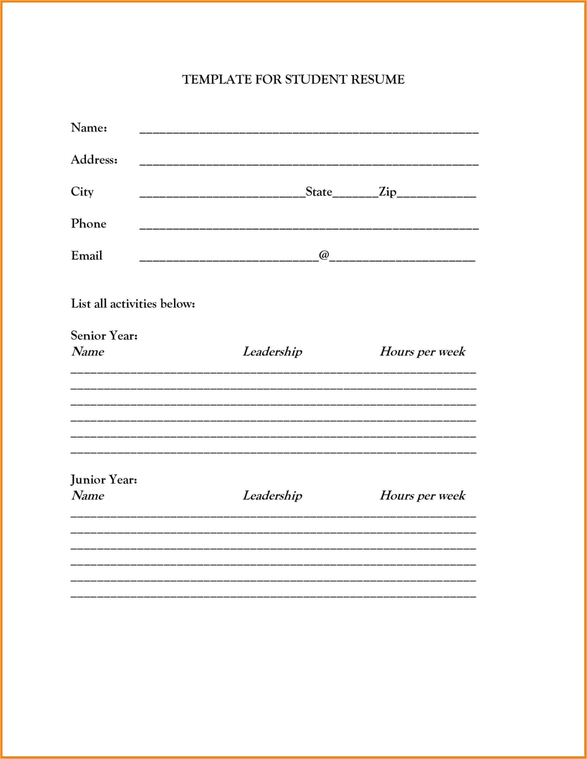 blank resume template printable