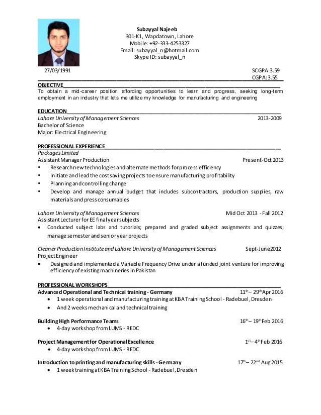 Production Engineer Resume Doc Subayyal Najeeb Manufacturing Engineer Resume 39