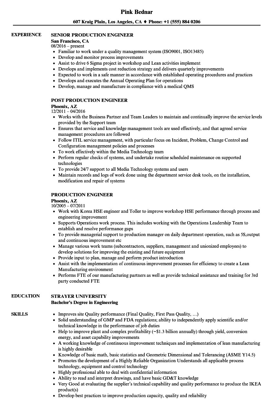 Production Engineer Resume Download Production Engineer Resume Samples Velvet Jobs