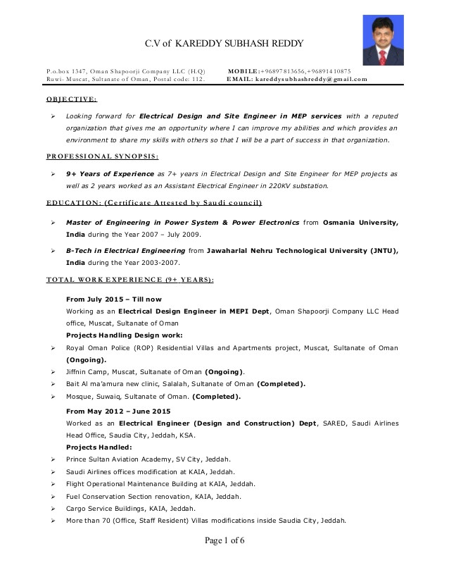 Production Engineer Resume Pdf Resume Electrical Engineer Mep 9 Years Exp