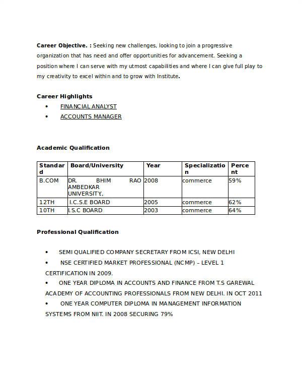 Professional Resume format for B.com Freshers 21 Fresher Resume Templates Pdf Doc Free Premium