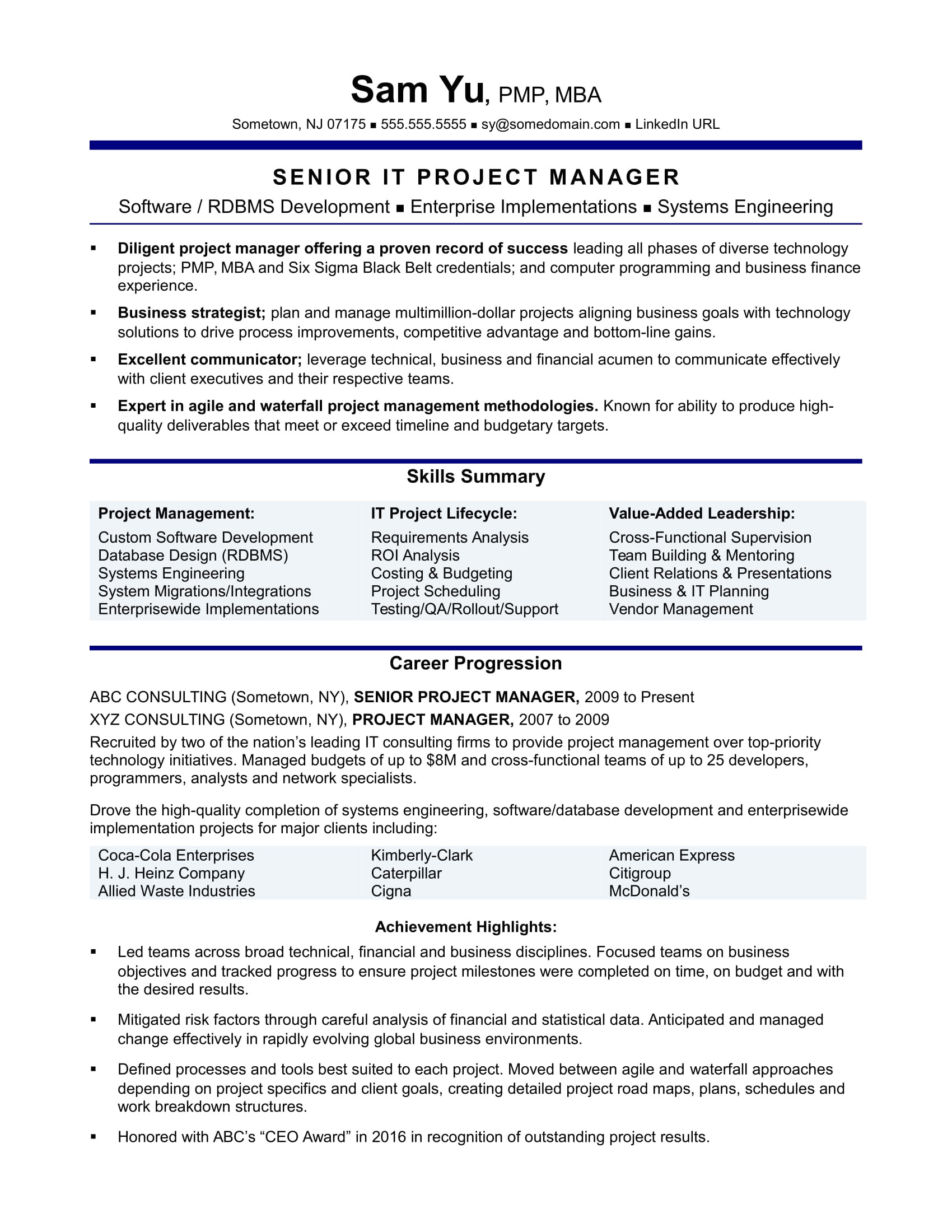 sample resume it project manager experienced