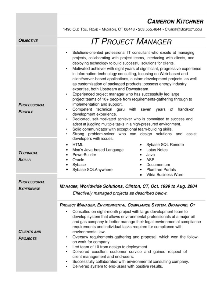 modern it project manager resume templates and samples