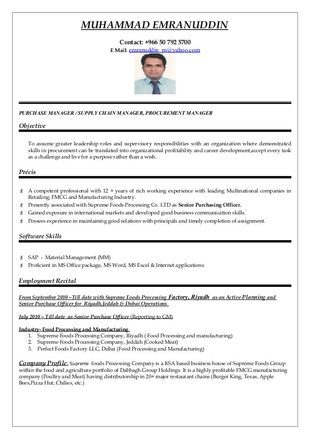 purchasing manager resume 2493
