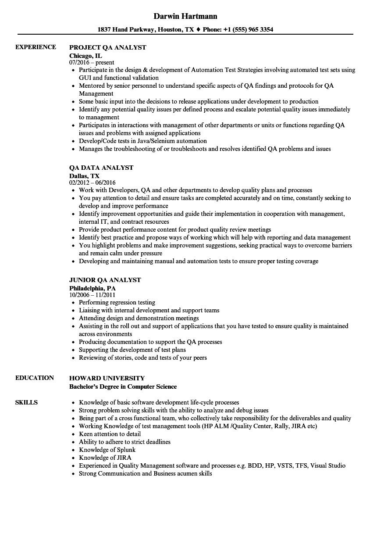analyst qa analyst resume sample