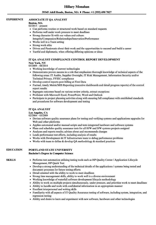 it qa analyst resume sample