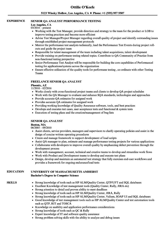 senior qa analyst resume sample