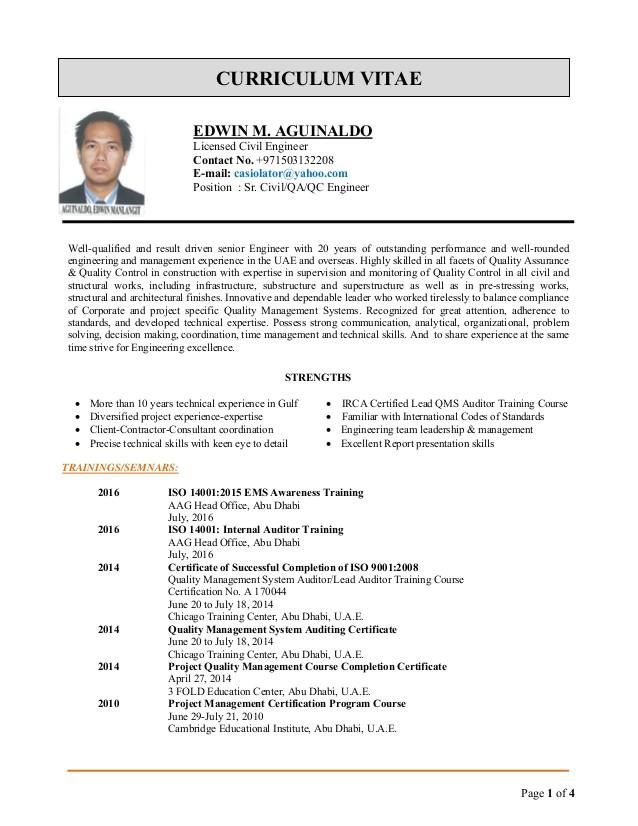 edwin cv for qaqc engineer