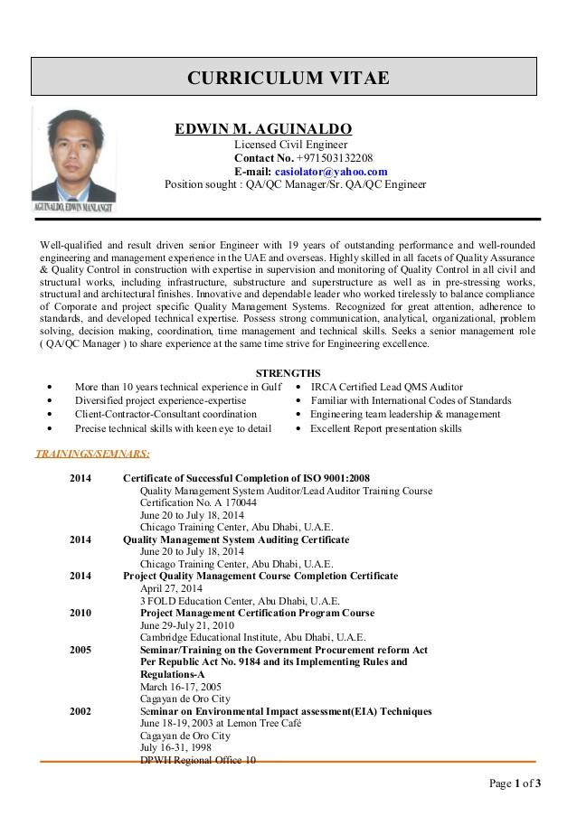 edwin cv for qaqc manager 51047992