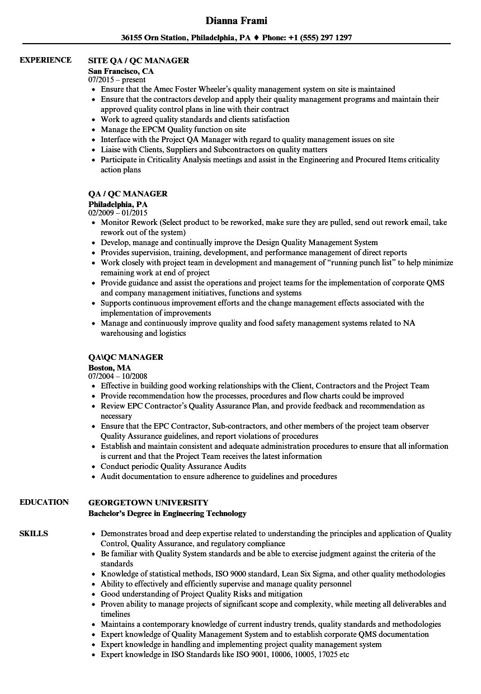 qa qc manager resume sample