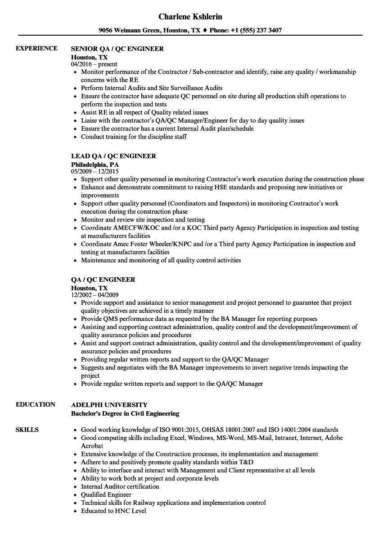 Qa Qc Engineer Resume Qa Qc Engineer Resume Samples Velvet Jobs