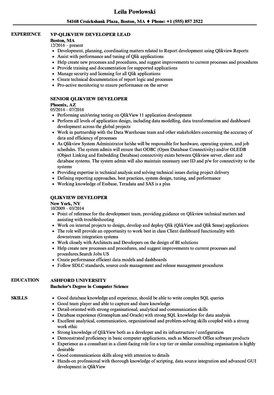 qlikview developer resume sample
