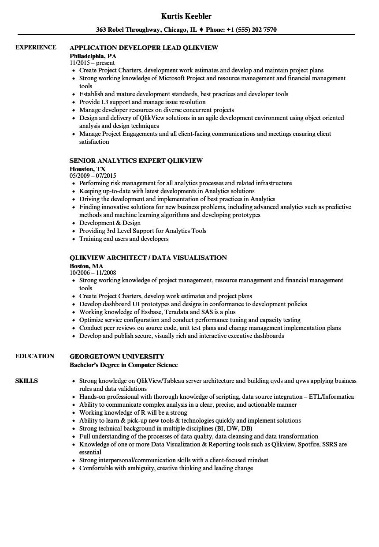 Qlikview Sample Resumes Qlikview Resume Samples Velvet Jobs