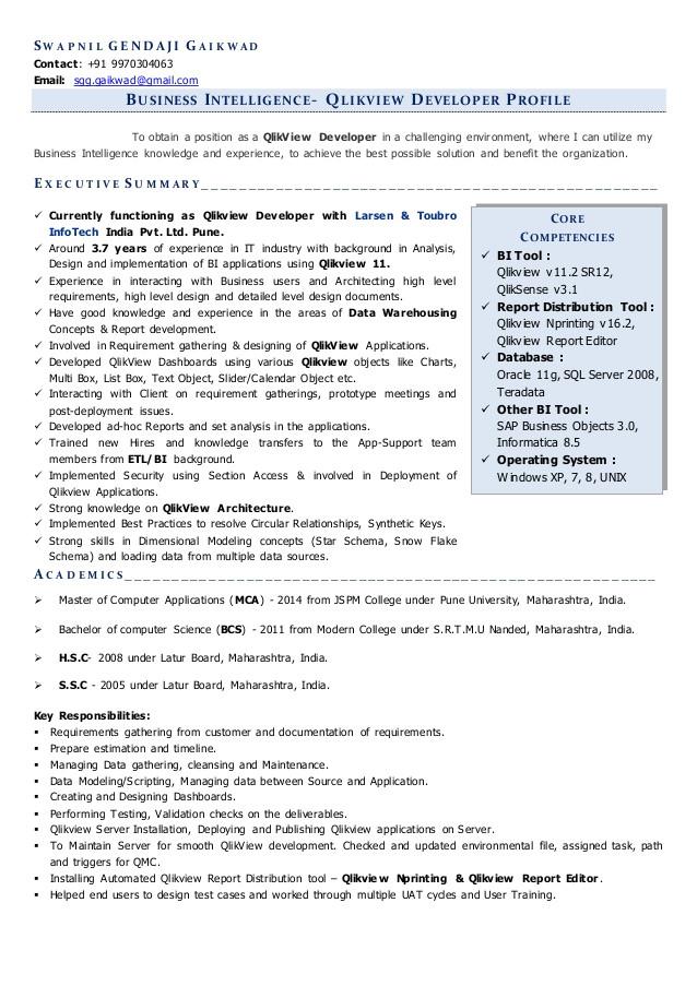 Qlikview Sample Resumes Resume for Qlikview Developer Position