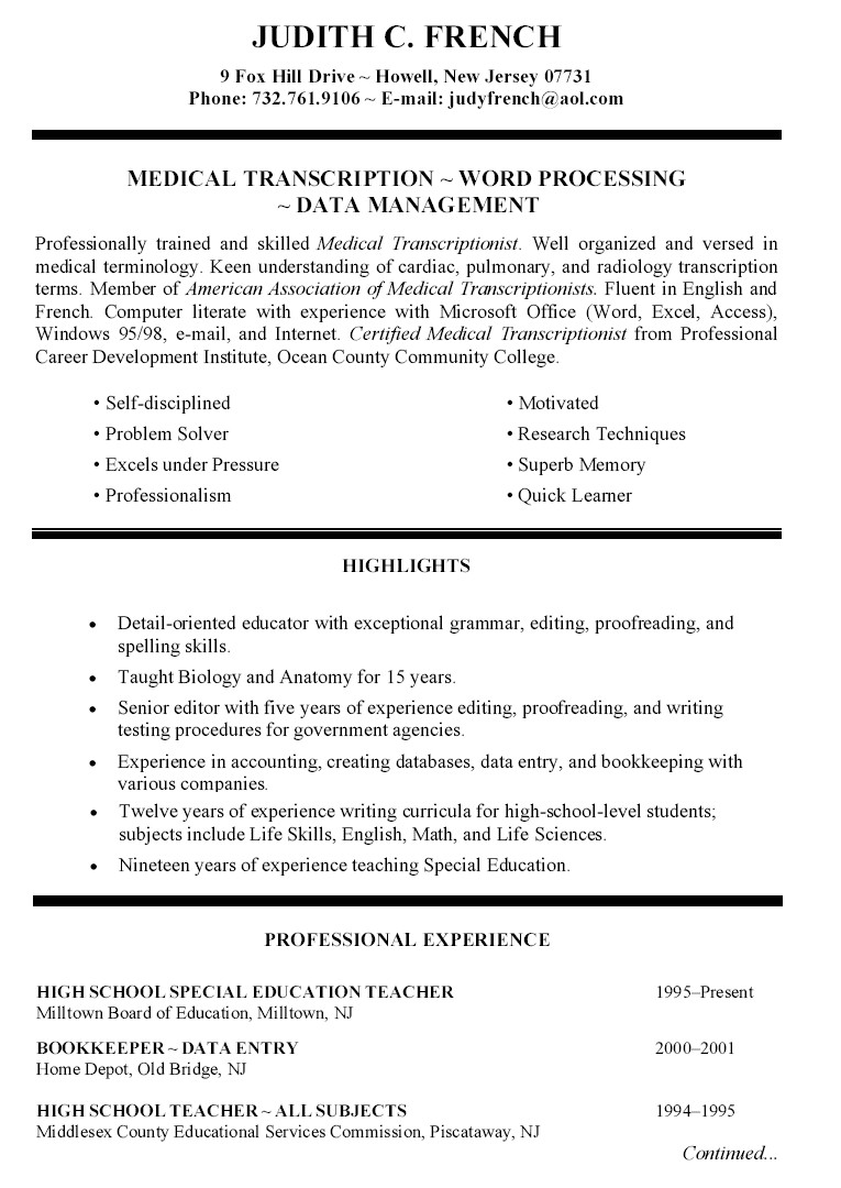Qualifications for High School Student Resume
