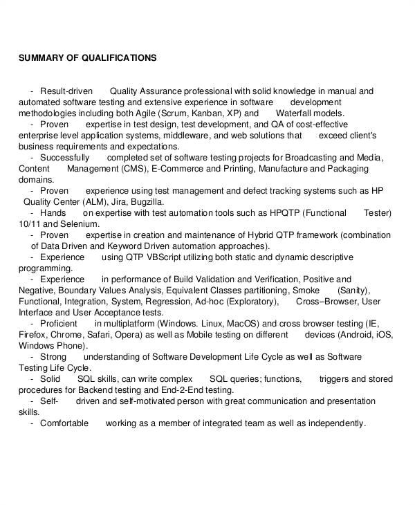 Quality assurance Engineer Resume Pdf Sample Quality assurance Resume 9 Examples In Word Pdf